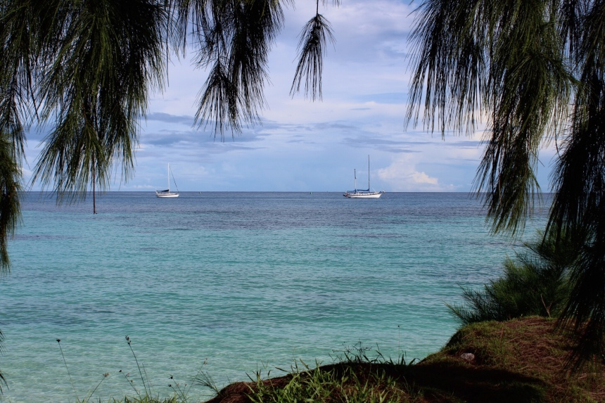 Sailboats off Kwajalein